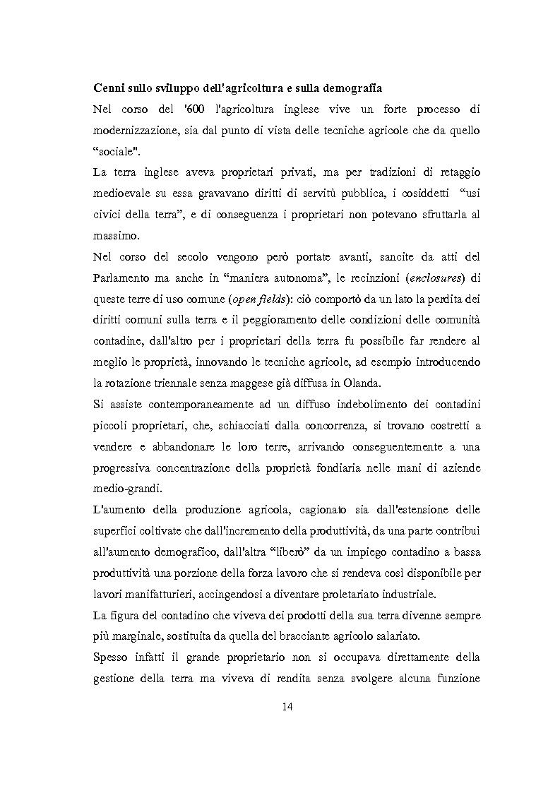 Anteprima della tesi: La Rivoluzione Industriale inglese. Variabili economiche e dibattito storiografico, Pagina 10