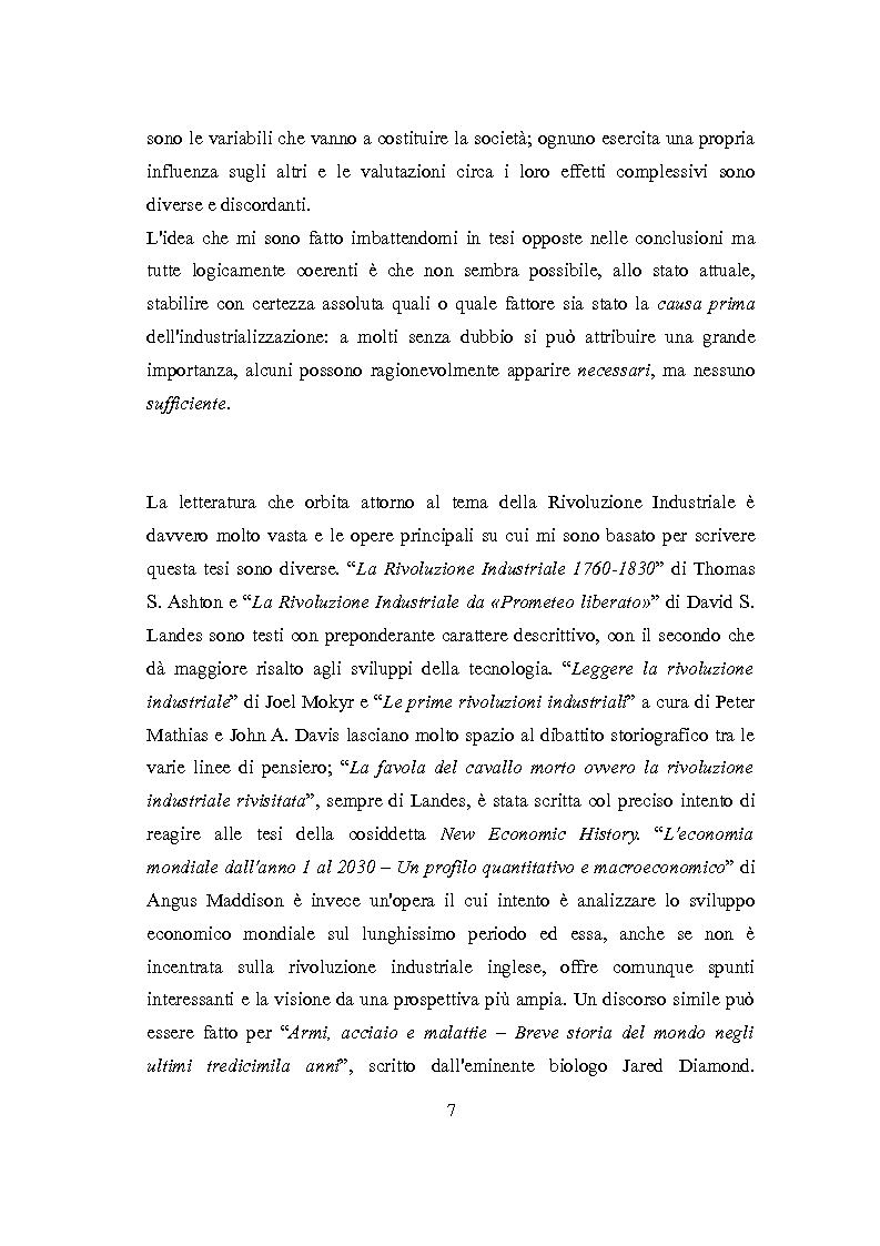 Anteprima della tesi: La Rivoluzione Industriale inglese. Variabili economiche e dibattito storiografico, Pagina 3