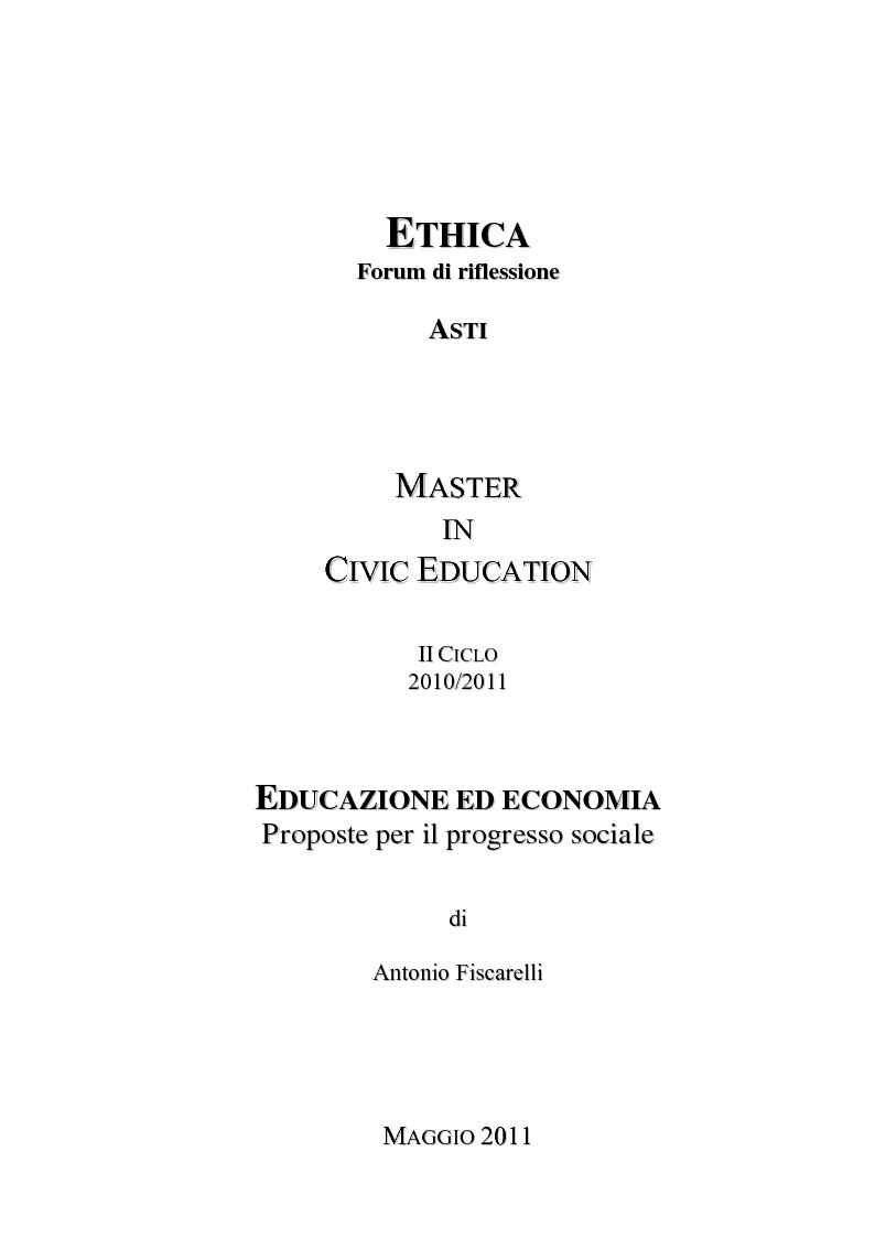 Anteprima della tesi: Educazione ed economia. Proposte per il progresso sociale, Pagina 1