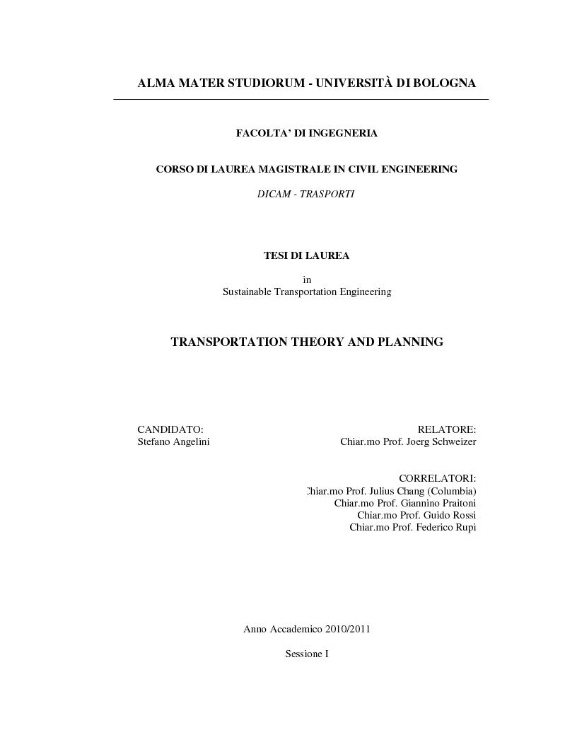 Anteprima della tesi: Transportation Theory and Planning, Pagina 1