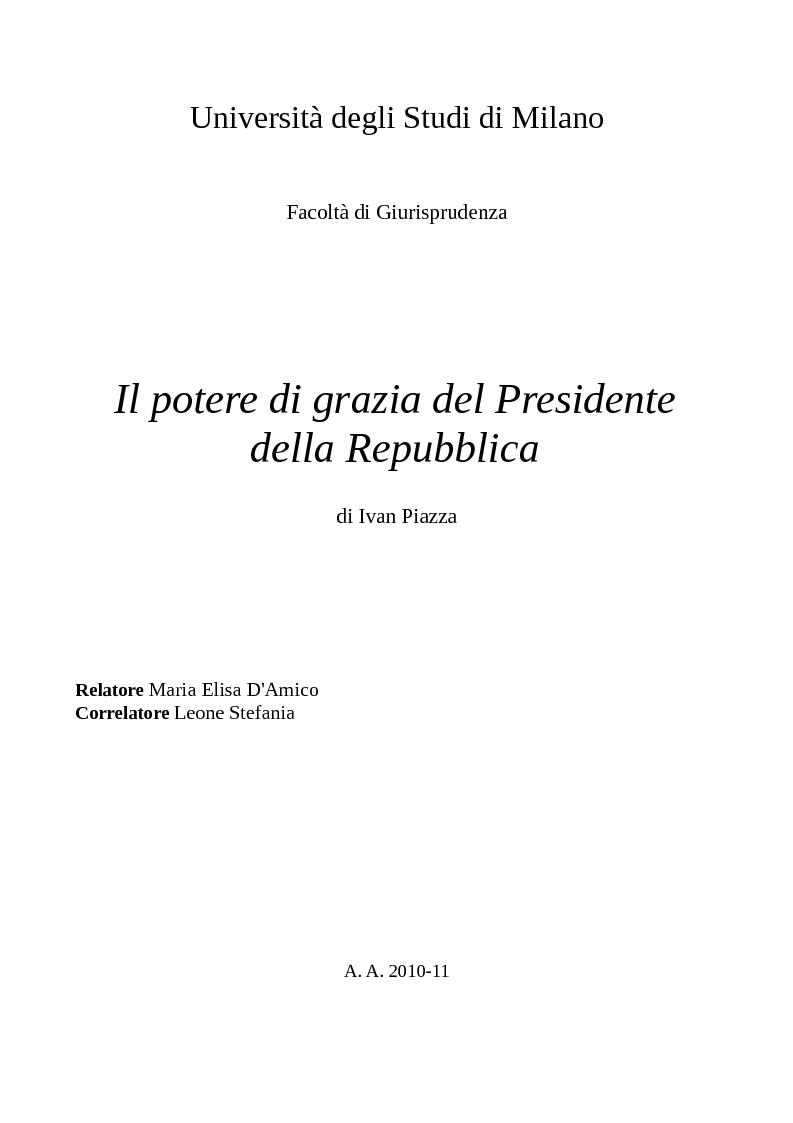 Anteprima della tesi: Il potere di grazia del Presidente della Repubblica, Pagina 1