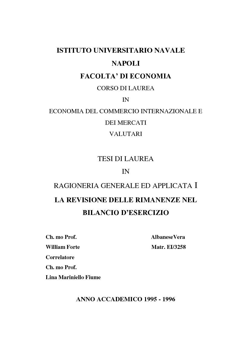 Anteprima della tesi: La revisione delle rimanenze nel bilancio d'esercizio, Pagina 1