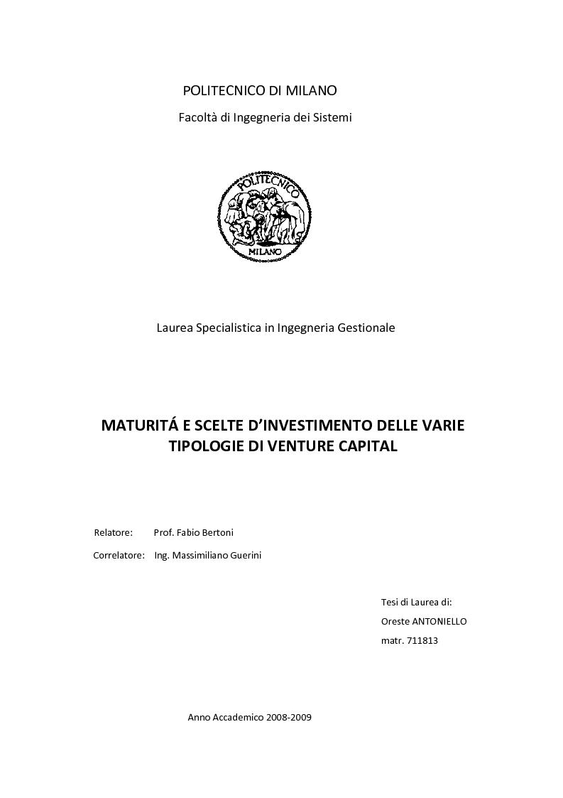 Anteprima della tesi: Maturità e scelte d'investimento delle varie tipologie di Venture Capital, Pagina 1