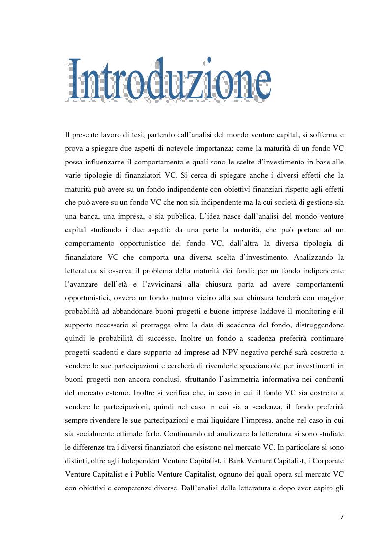 Anteprima della tesi: Maturità e scelte d'investimento delle varie tipologie di Venture Capital, Pagina 2