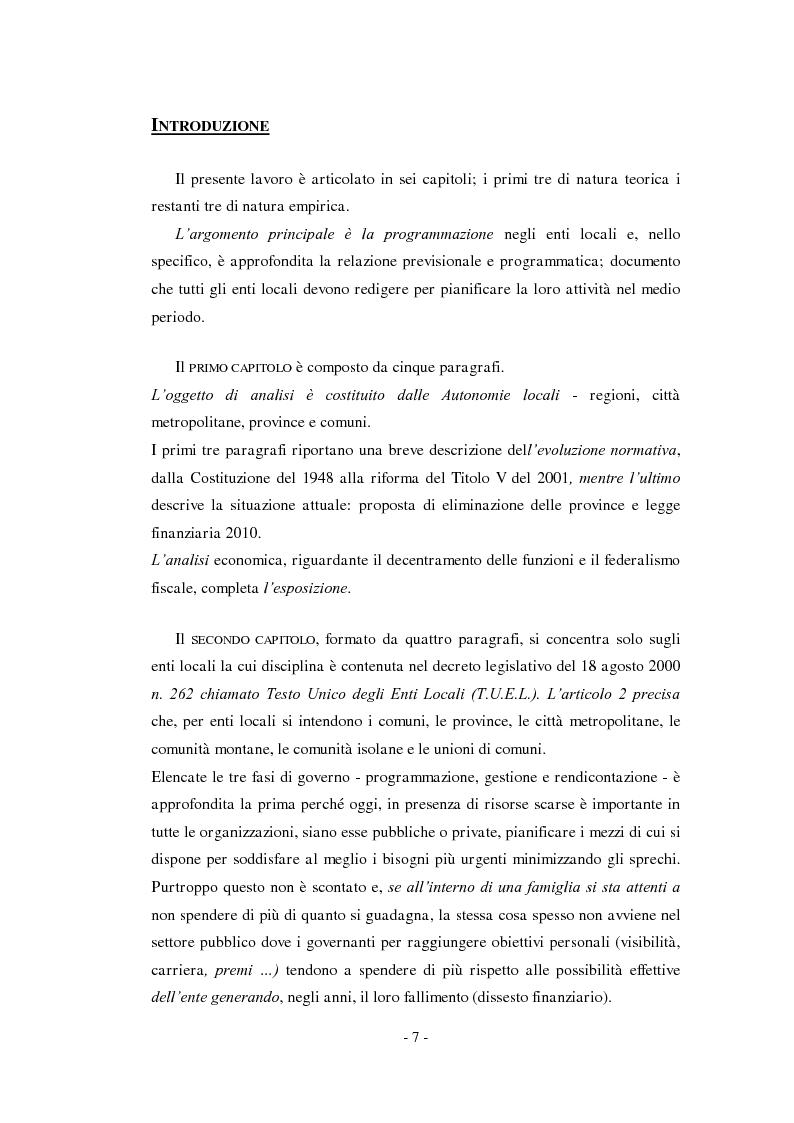Anteprima della tesi: La relazione previsionale e programmatica. Caratteristiche teoriche e problemi di implementazione., Pagina 2