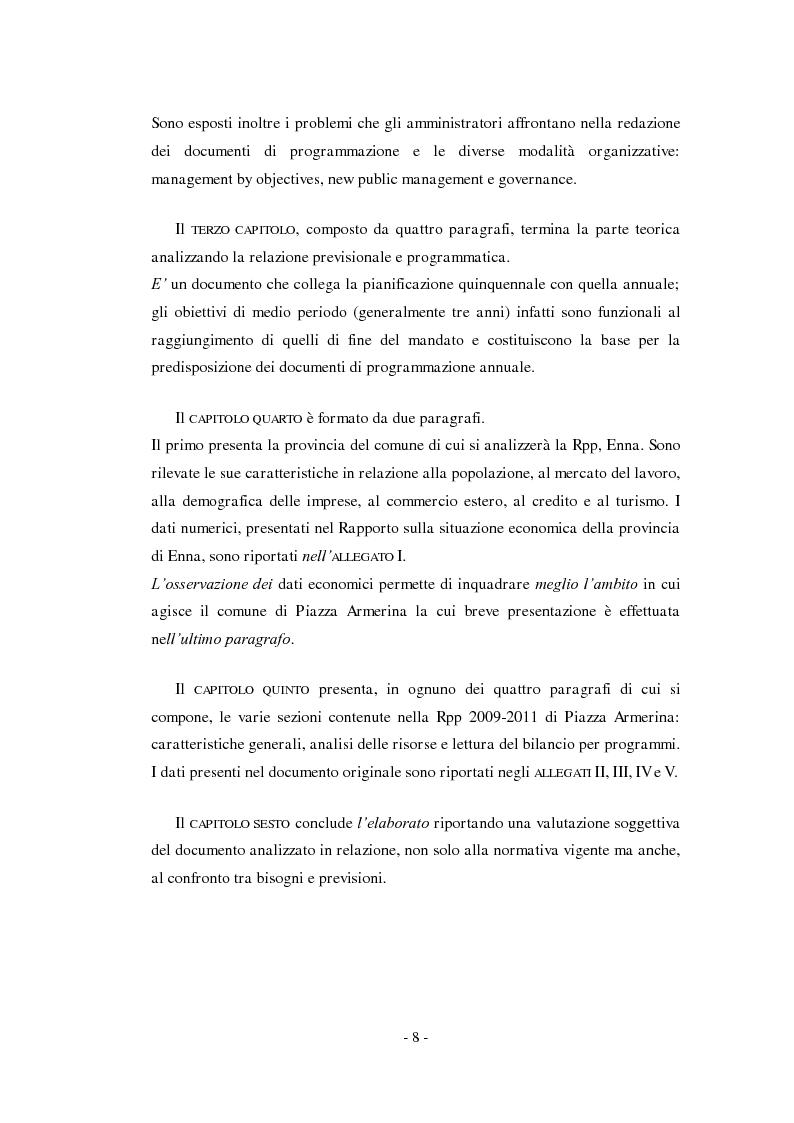 Anteprima della tesi: La relazione previsionale e programmatica. Caratteristiche teoriche e problemi di implementazione., Pagina 3