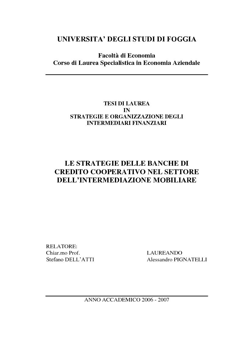 Anteprima della tesi: Le strategie delle banche di credito cooperativo nel settore dell'intermediazione mobiliare, Pagina 1