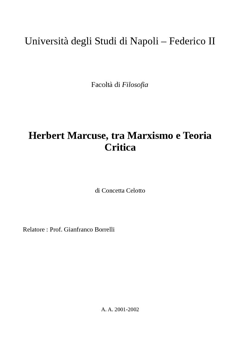 Anteprima della tesi: Herbert Marcuse, tra Marxismo e Teoria Critica , Pagina 1