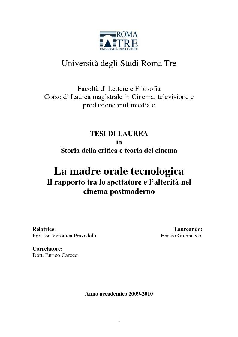 Anteprima della tesi: La madre orale tecnologica. Il rapporto tra lo spettatore e l'alterità nel cinema postmoderno, Pagina 1