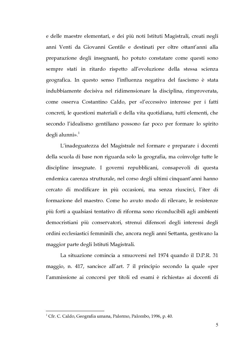 Anteprima della tesi: Percorsi di formazione e aggiornamento per l'insegnamento della geografia nella scuola di base, Pagina 3