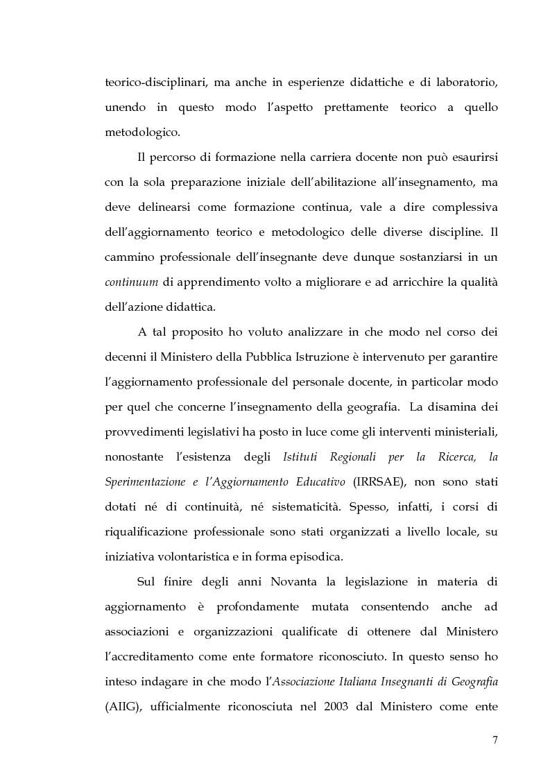 Anteprima della tesi: Percorsi di formazione e aggiornamento per l'insegnamento della geografia nella scuola di base, Pagina 5