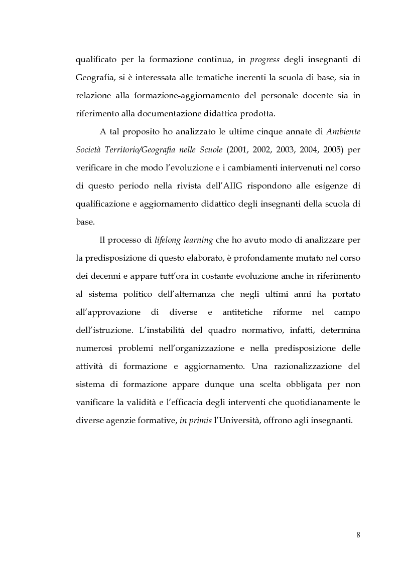 Anteprima della tesi: Percorsi di formazione e aggiornamento per l'insegnamento della geografia nella scuola di base, Pagina 6