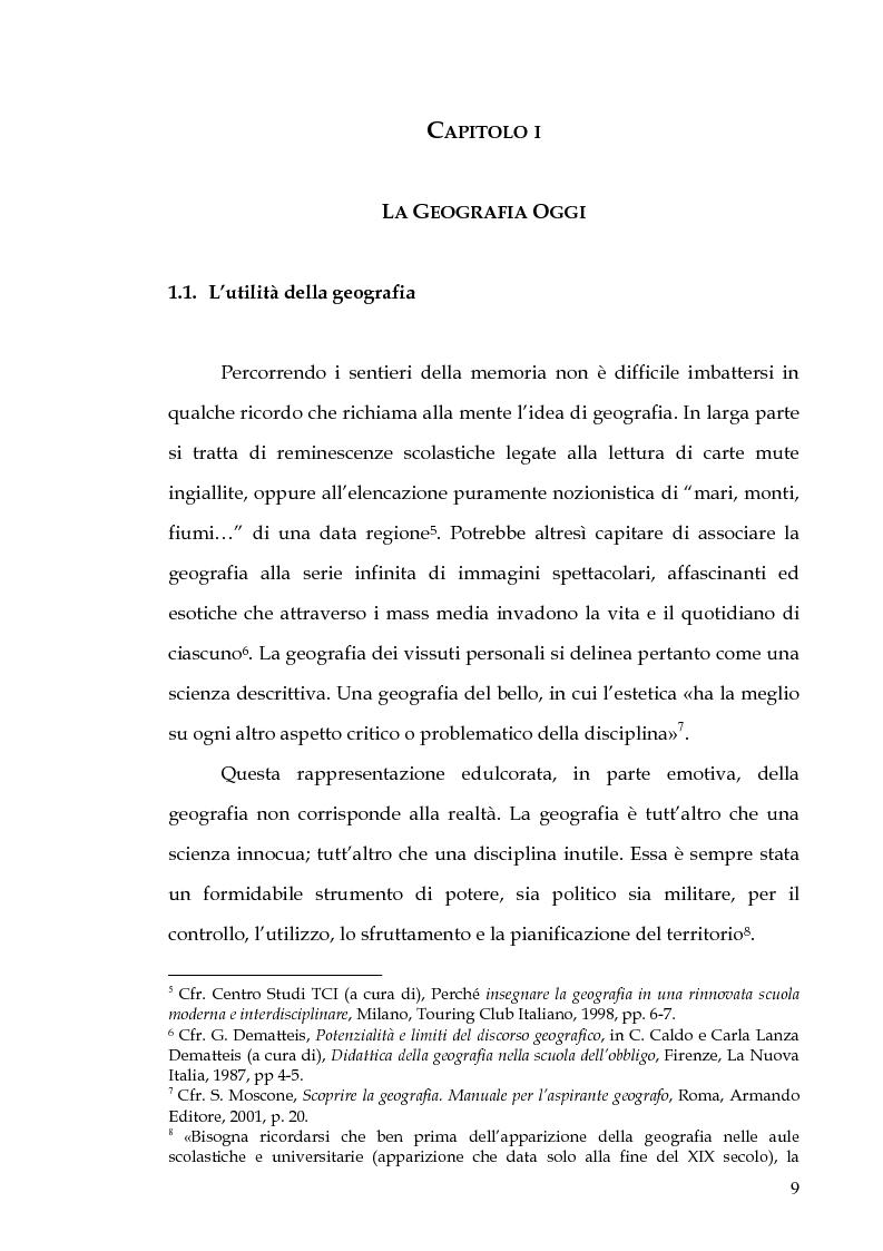 Anteprima della tesi: Percorsi di formazione e aggiornamento per l'insegnamento della geografia nella scuola di base, Pagina 7