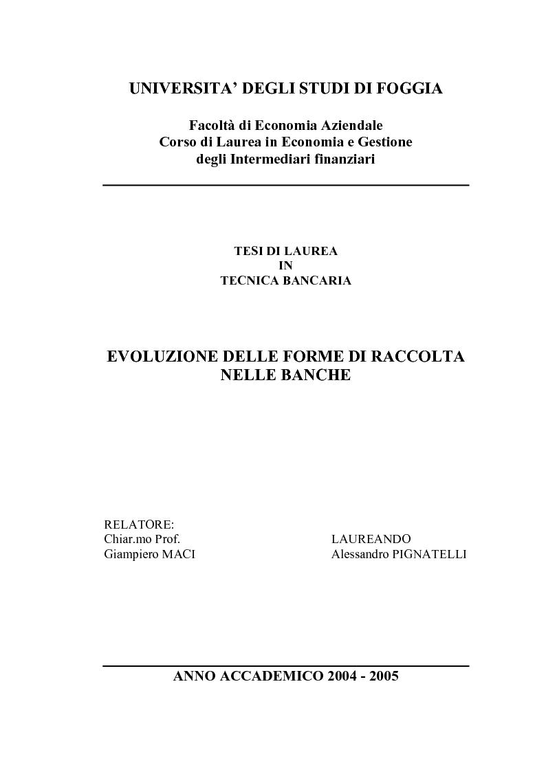 Anteprima della tesi: L'evoluzione delle forme di raccolta nelle banche, Pagina 1