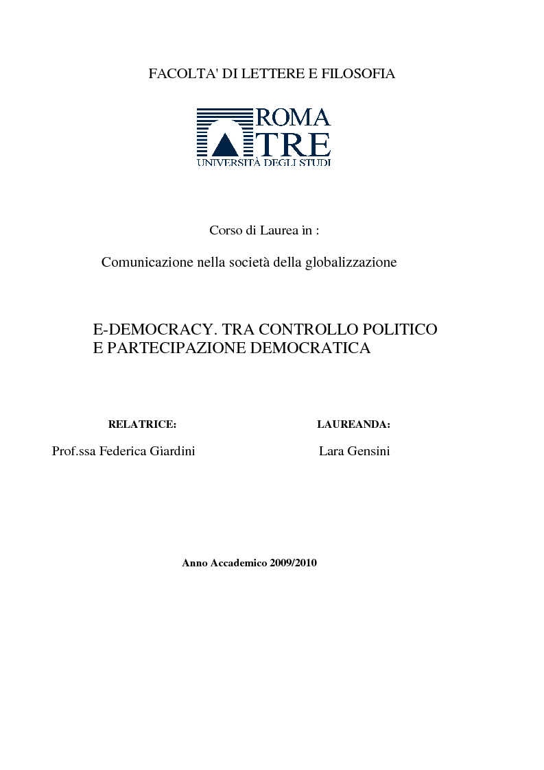 Anteprima della tesi: E-democracy. Tra controllo politico e new media., Pagina 1