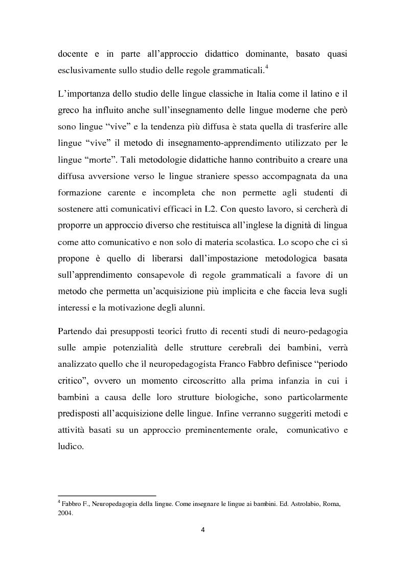 Anteprima della tesi: L'insegnamento della lingua inglese nella scuola primaria attraverso un approccio ludico-comunicativo, Pagina 5