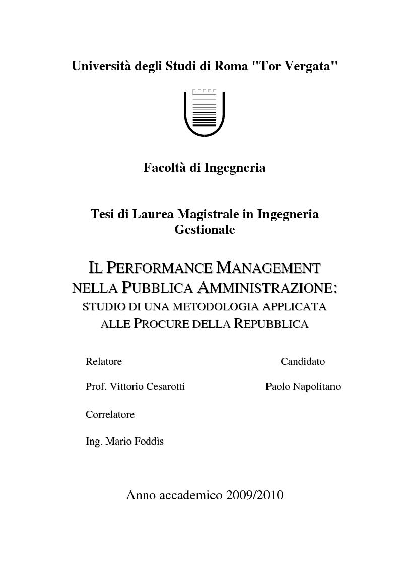 Anteprima della tesi: Il Performance Management nella Pubblica Amministrazione: studio di una metodologia applicata alle Procure della Repubblica, Pagina 1