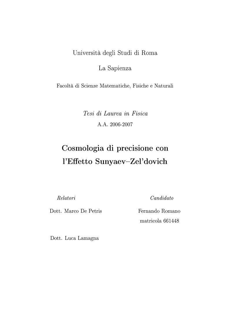Anteprima della tesi: Cosmologia di precisione con l'Effetto Sunyaev-Zel'dovich, Pagina 1