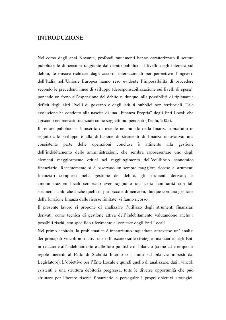 Anteprima della tesi: Strumenti Finanziari Derivati negli Enti Locali: margini di utilità e rischi, Pagina 4