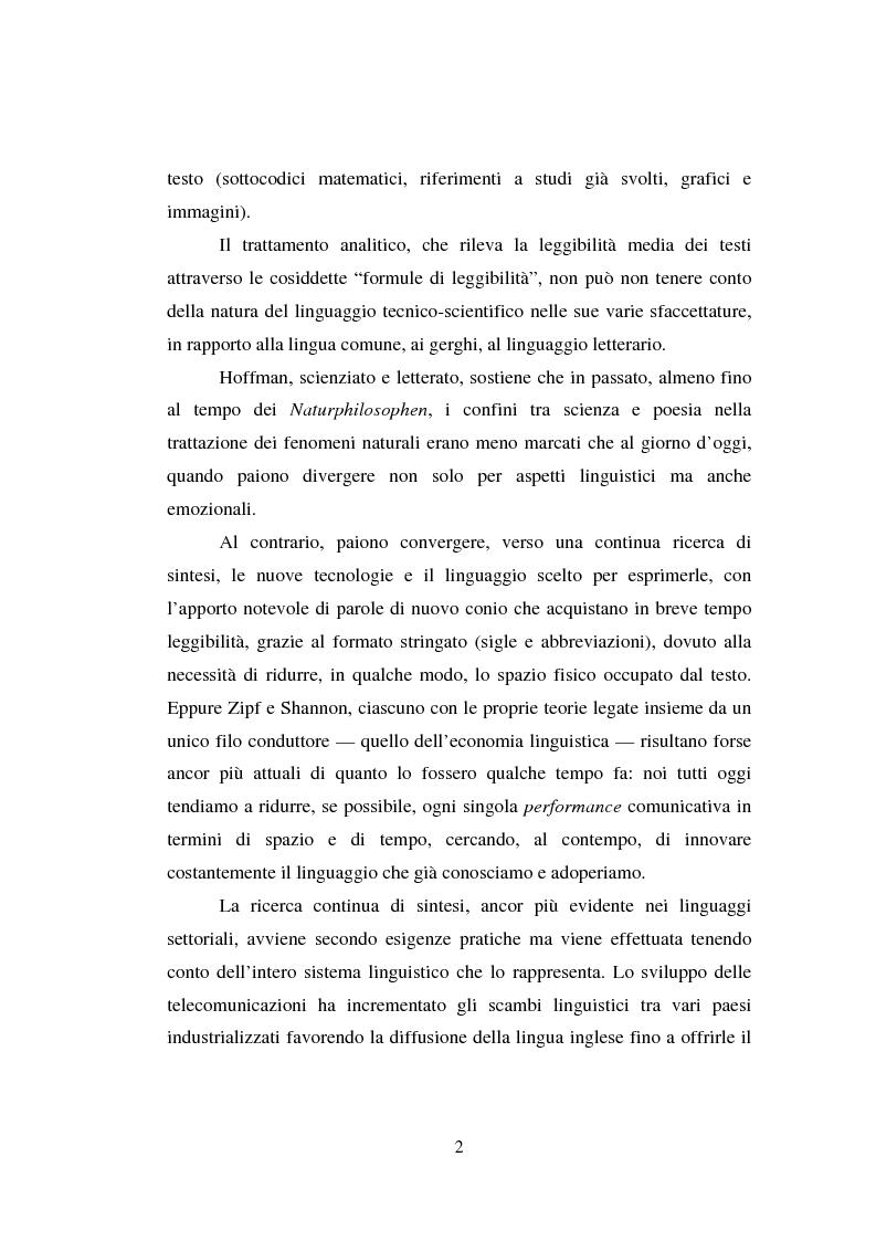 Anteprima della tesi: Comunicazione Scientifica, Leggibilità, Divulgazione, Pagina 3