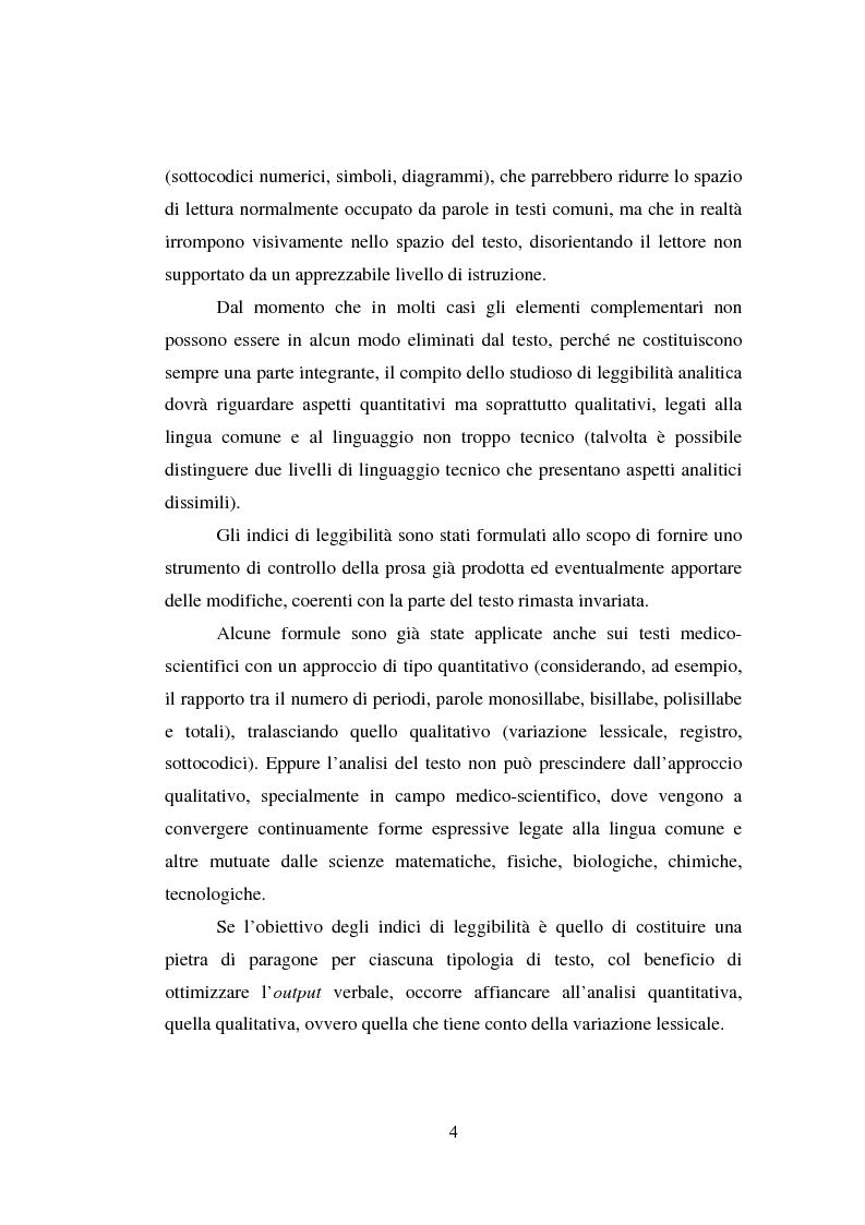 Anteprima della tesi: Comunicazione Scientifica, Leggibilità, Divulgazione, Pagina 5