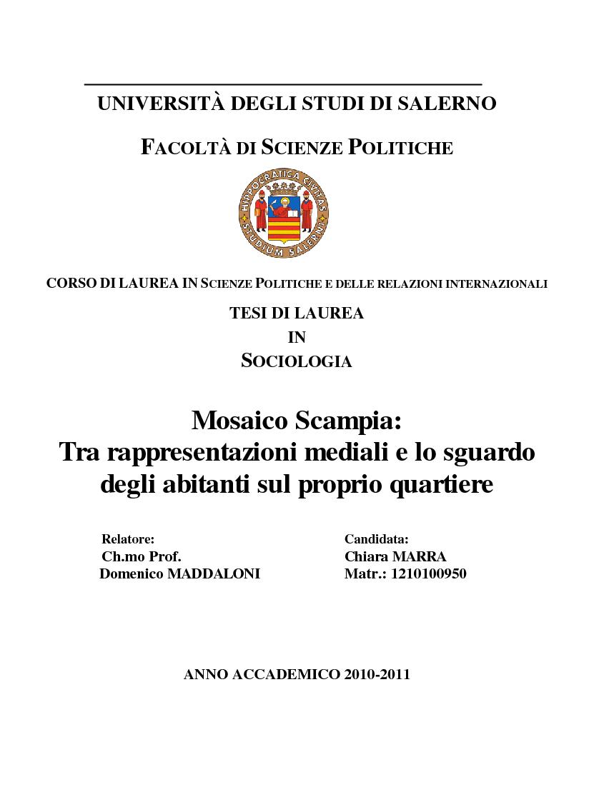 Anteprima della tesi: Mosaico Scampia: tra rappresentazioni mediali e lo sguardo degli abitanti sul proprio quartiere, Pagina 1