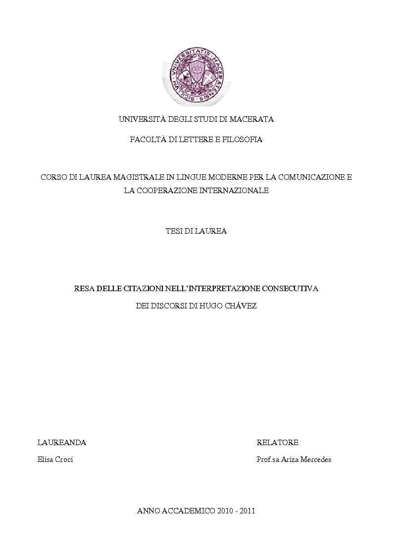 Anteprima della tesi: Resa delle citazioni nell'interpretazione consecutiva dei discorsi di Hugo Chávez, Pagina 1