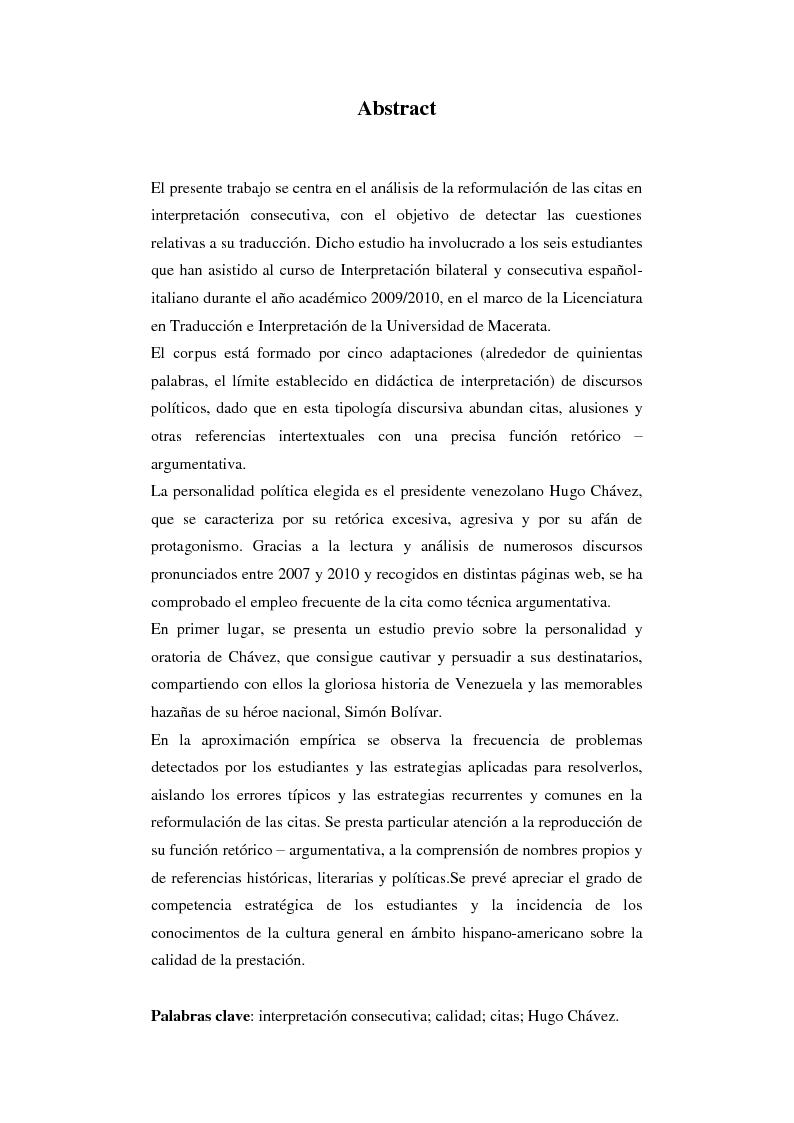 Anteprima della tesi: Resa delle citazioni nell'interpretazione consecutiva dei discorsi di Hugo Chávez, Pagina 2