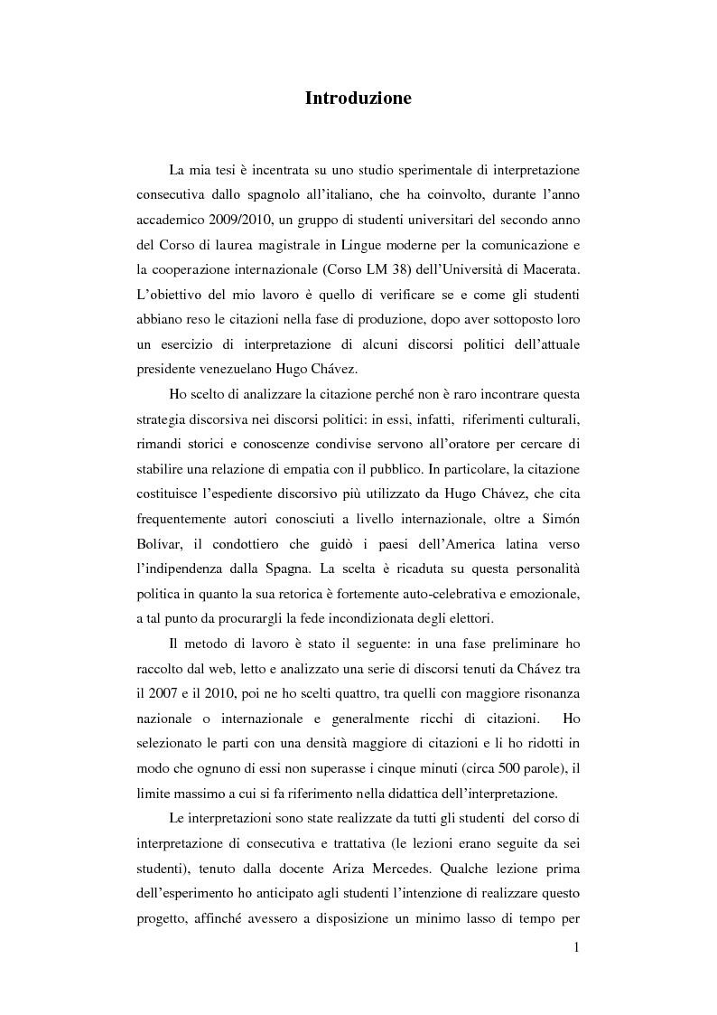 Anteprima della tesi: Resa delle citazioni nell'interpretazione consecutiva dei discorsi di Hugo Chávez, Pagina 4