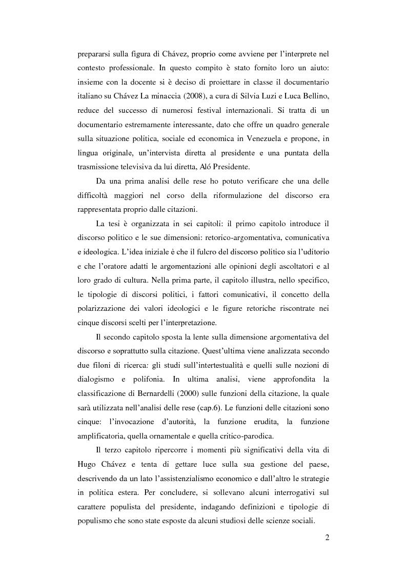 Anteprima della tesi: Resa delle citazioni nell'interpretazione consecutiva dei discorsi di Hugo Chávez, Pagina 5