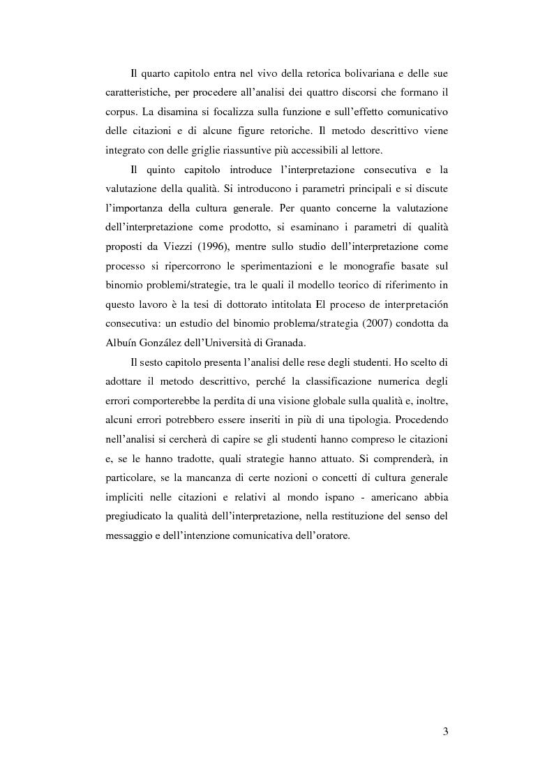 Anteprima della tesi: Resa delle citazioni nell'interpretazione consecutiva dei discorsi di Hugo Chávez, Pagina 6