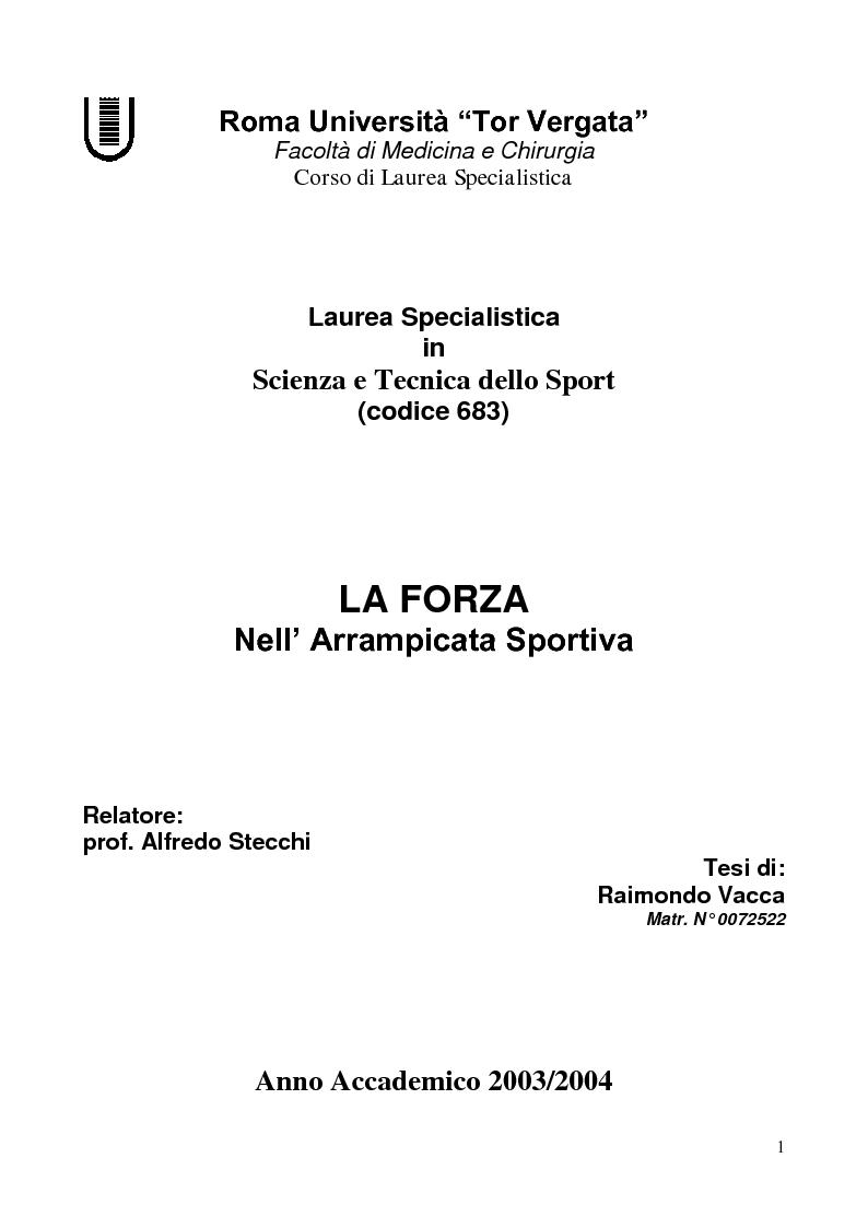 Anteprima della tesi: La Forza nell'Arrampicata Sportiva, Pagina 1