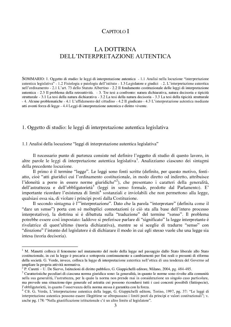 Anteprima della tesi: L'interpretazione autentica nella giurisprudenza costituzionale recente, Pagina 4