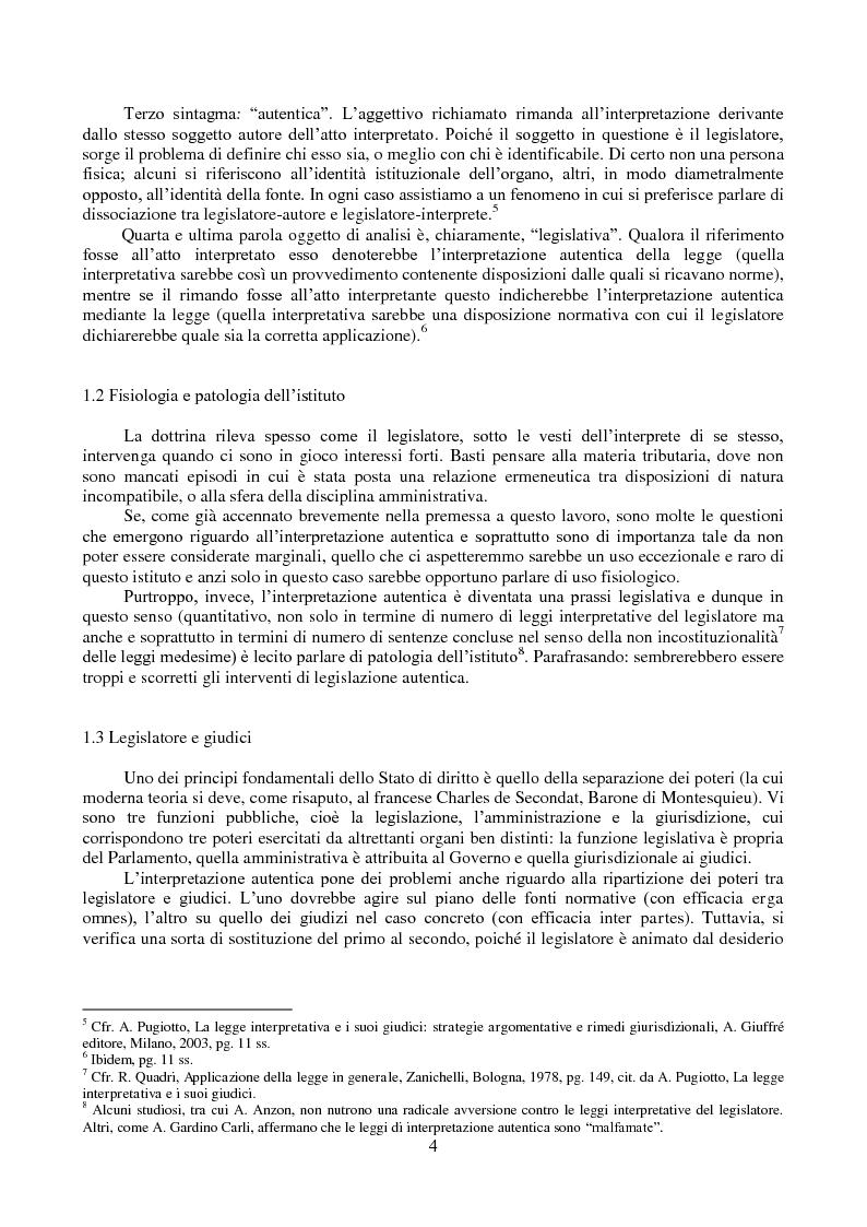 Anteprima della tesi: L'interpretazione autentica nella giurisprudenza costituzionale recente, Pagina 5
