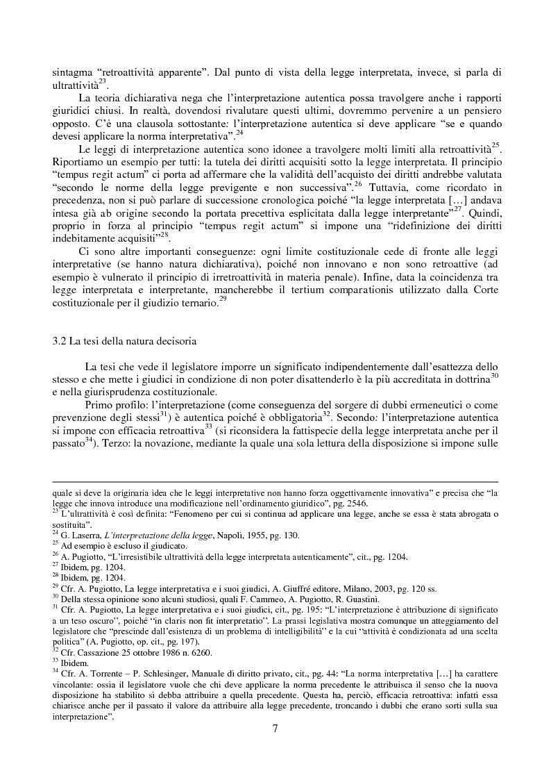 Anteprima della tesi: L'interpretazione autentica nella giurisprudenza costituzionale recente, Pagina 8