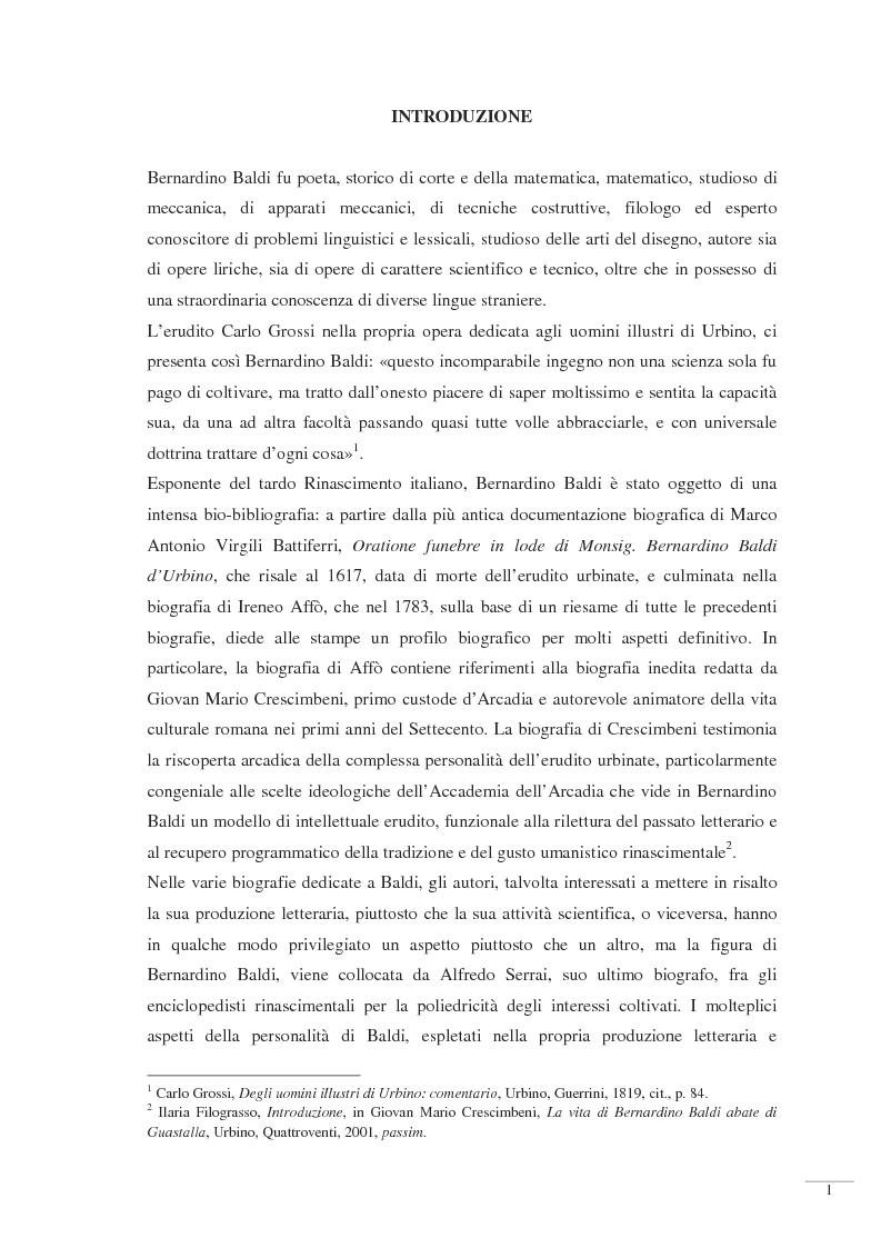 Anteprima della tesi: Bernardino Baldi: una fonte per il collezionismo in età moderna, Pagina 3