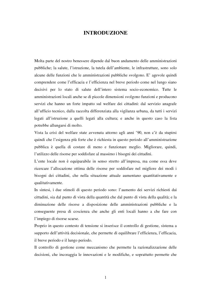 Anteprima della tesi: Il controllo di gestione negli enti locali. Il caso del comune di Selvazzano Dentro., Pagina 2