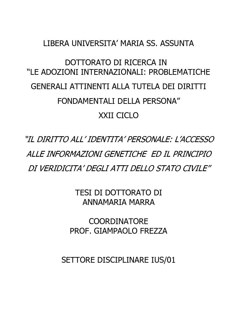 Anteprima della tesi: Il diritto all'identità personale: l'accesso alle informazioni genetiche ed il principio di veridicità degli atti dello stato civile., Pagina 1