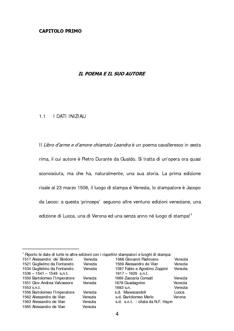 Anteprima della tesi: Un poema cavalleresco in sesta rima: Il libro d'arme e d'amore chiamato ''Leandra'' di Pietro Durante da Gualdo, Pagina 6