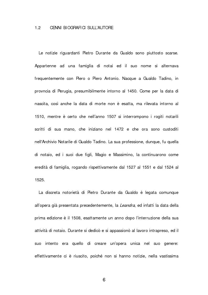 Anteprima della tesi: Un poema cavalleresco in sesta rima: Il libro d'arme e d'amore chiamato ''Leandra'' di Pietro Durante da Gualdo, Pagina 8