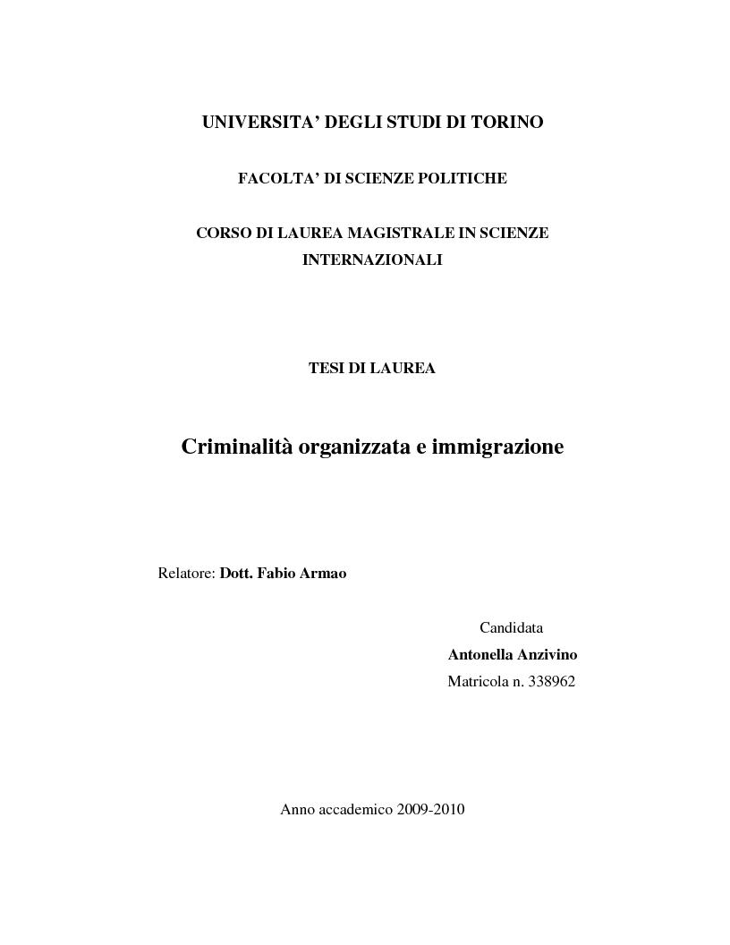 Anteprima della tesi: Criminalità organizzata e immigrazione, Pagina 1