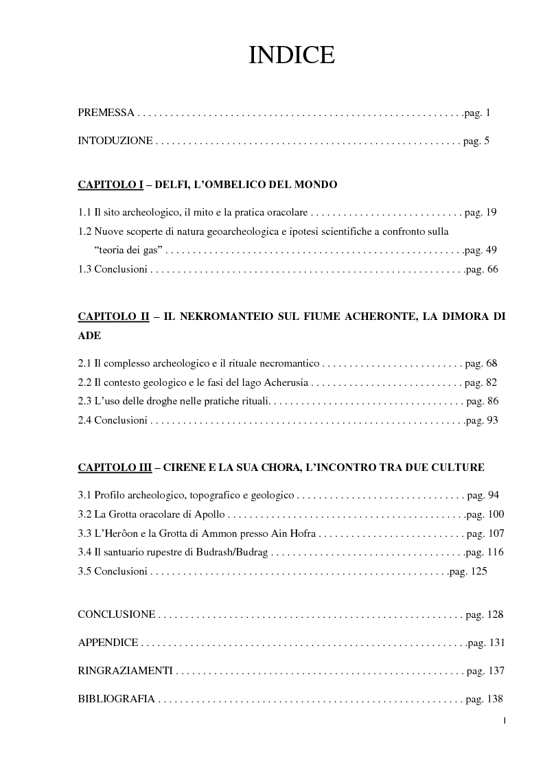 Indice della tesi: Geoarcheologia del santuari mantici, Pagina 1