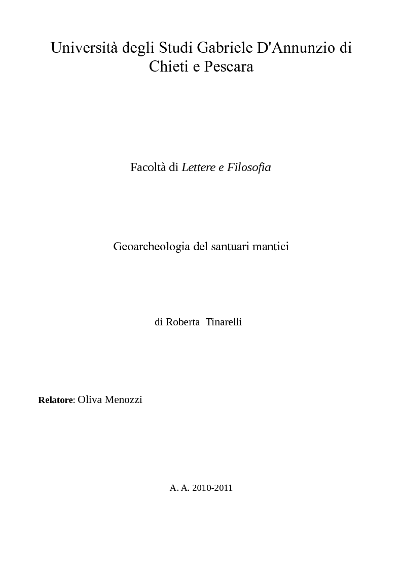 Anteprima della tesi: Geoarcheologia del santuari mantici, Pagina 1