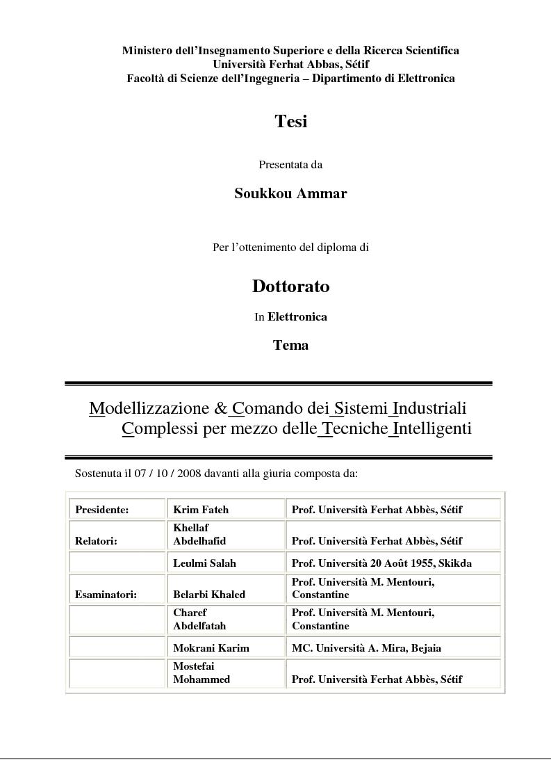 Anteprima della tesi: Modellizzazione & comando dei sistemi industriali complessi per mezzo delle tecniche intelligenti, Pagina 1