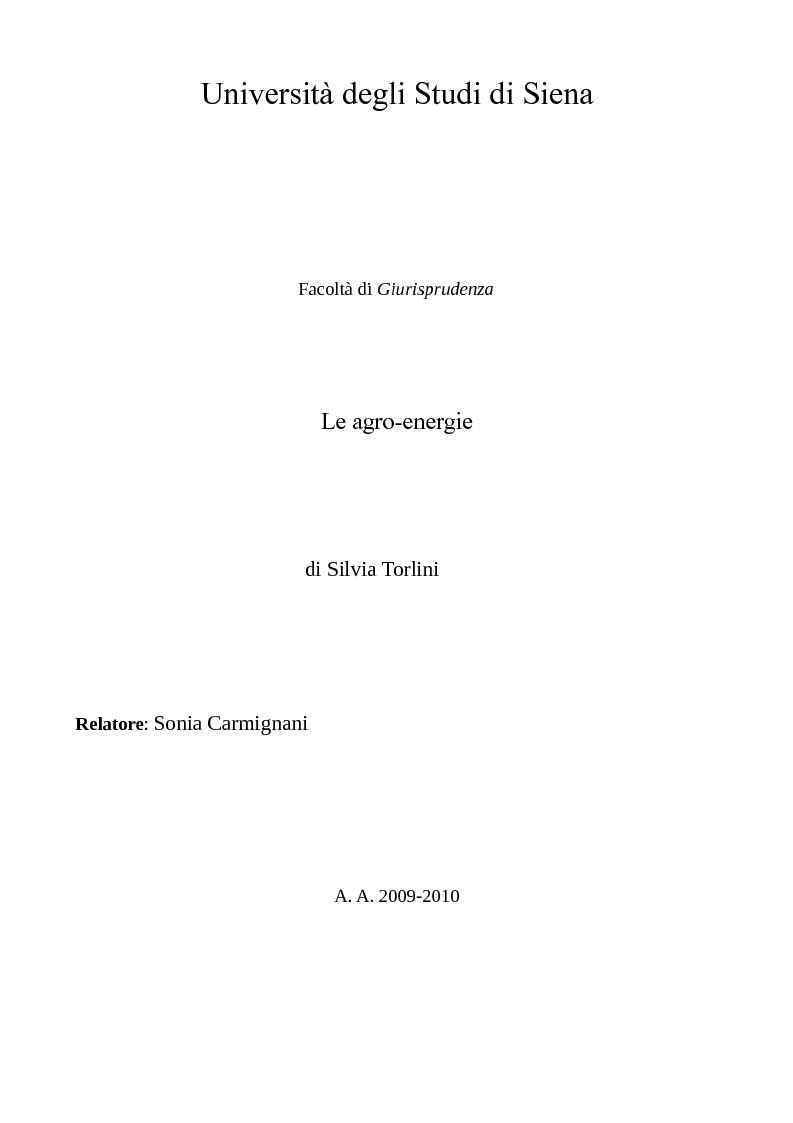 Anteprima della tesi: Le agro-energie, Pagina 1
