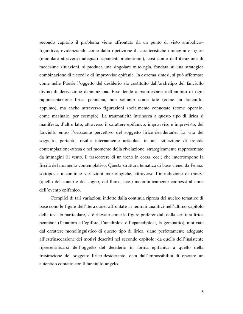 Anteprima della tesi: Iterazione e circolarità nella poesia di Sandro Penna, Pagina 5