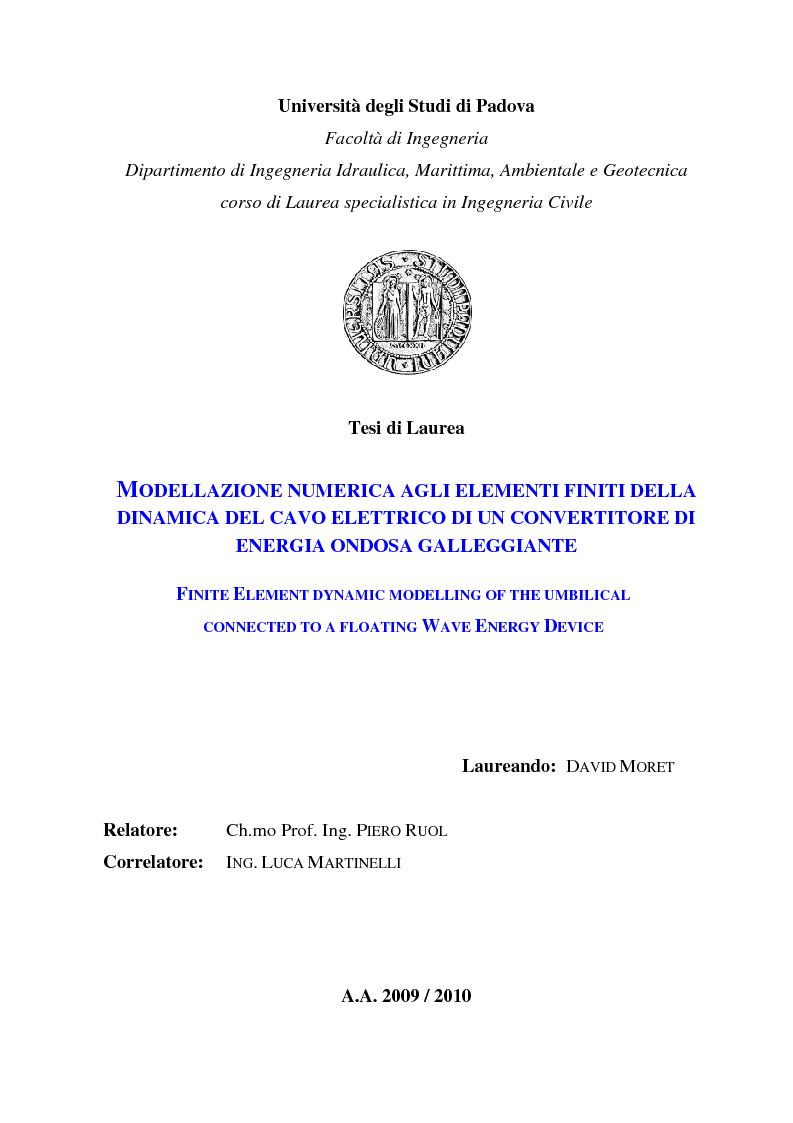 Anteprima della tesi: Modellazione numerica agli Elementi Finiti della dinamica del cavo elettrico di un convertitore di energia ondosa galleggiante, Pagina 1