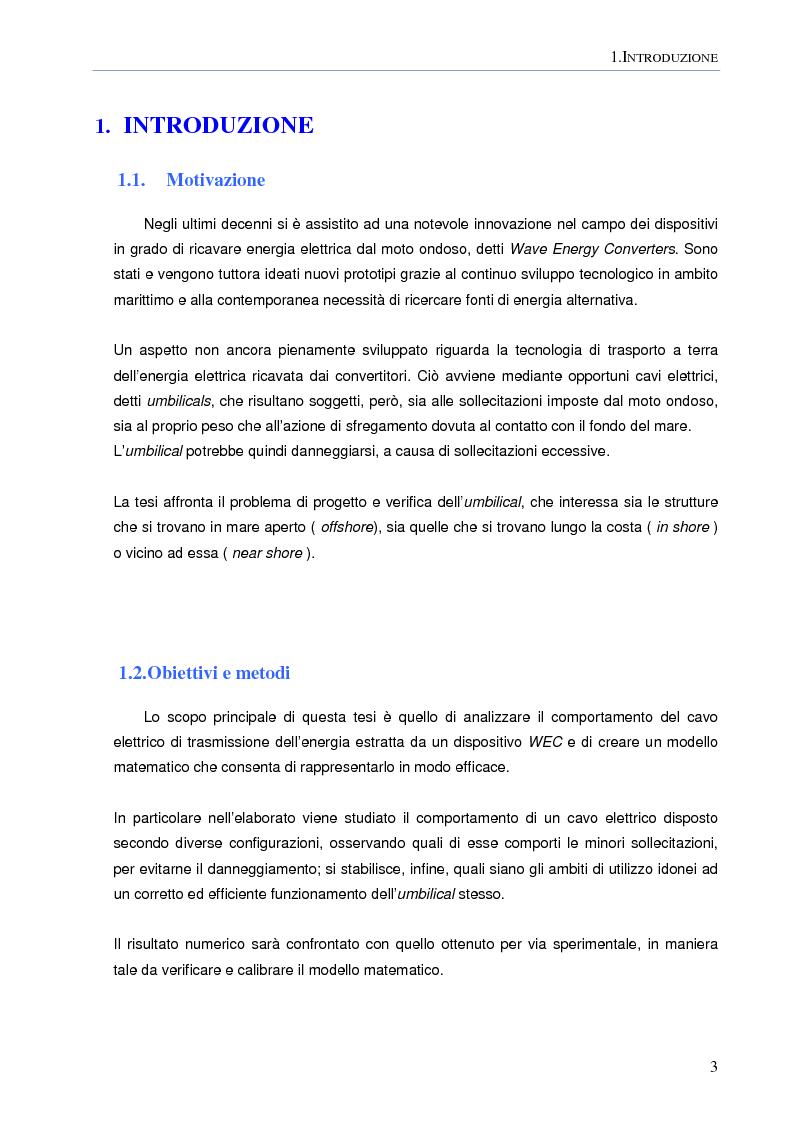 Anteprima della tesi: Modellazione numerica agli Elementi Finiti della dinamica del cavo elettrico di un convertitore di energia ondosa galleggiante, Pagina 2