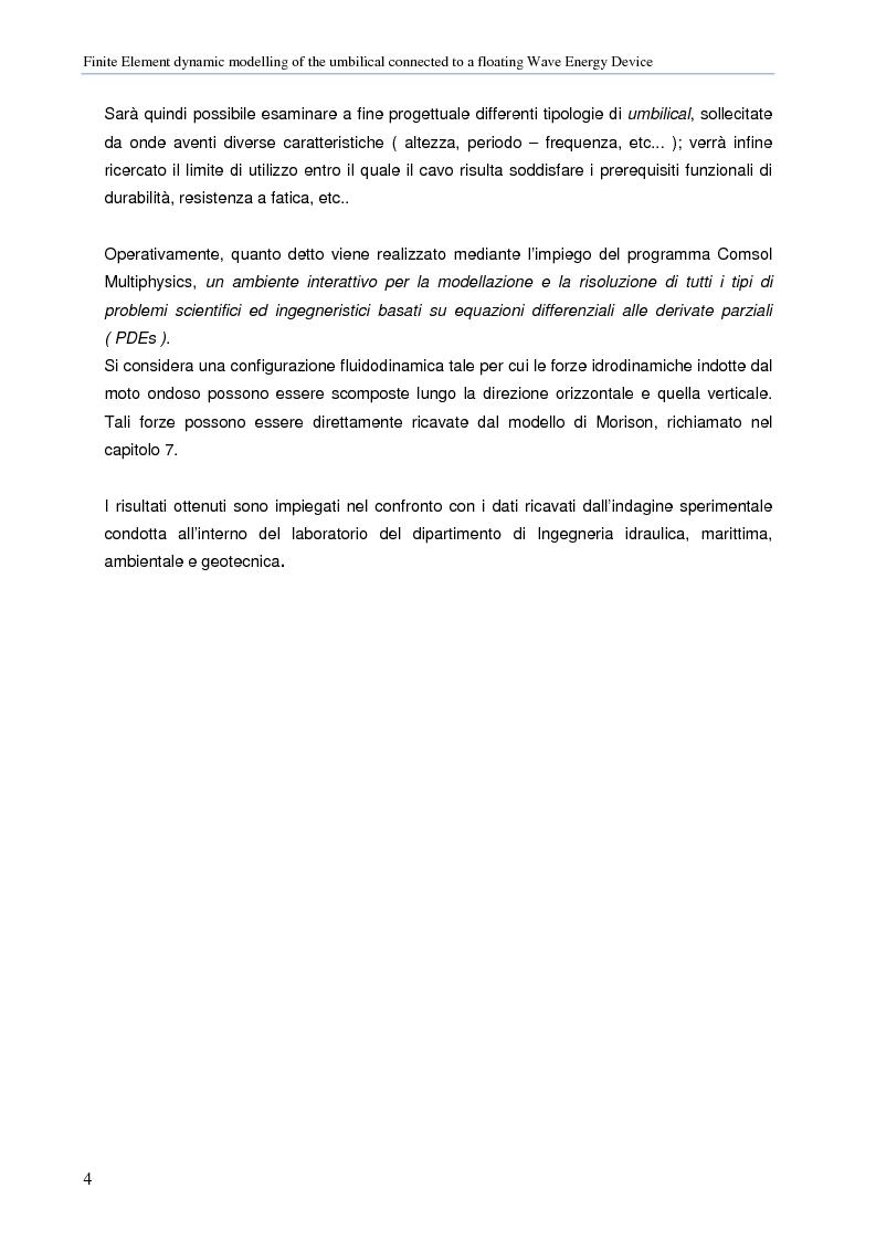 Anteprima della tesi: Modellazione numerica agli Elementi Finiti della dinamica del cavo elettrico di un convertitore di energia ondosa galleggiante, Pagina 3