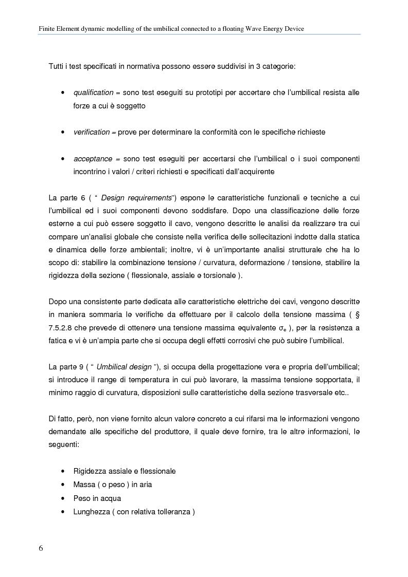 Anteprima della tesi: Modellazione numerica agli Elementi Finiti della dinamica del cavo elettrico di un convertitore di energia ondosa galleggiante, Pagina 5
